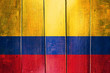canvas print picture - Vintage Colombia  flag on grunge wooden panel