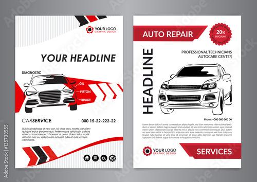 Set A4 auto repair business layout templates, automobile magazine cover, auto repair shop brochure, mockup flyer. Vector illustration.