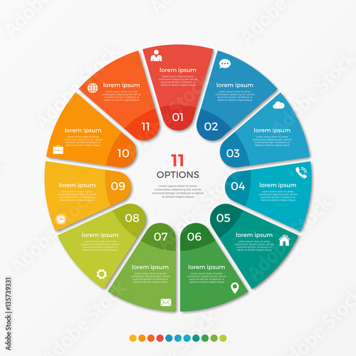 Cuadros en Lienzo Circle chart infographic template with 11 options  for presentations, advertisin