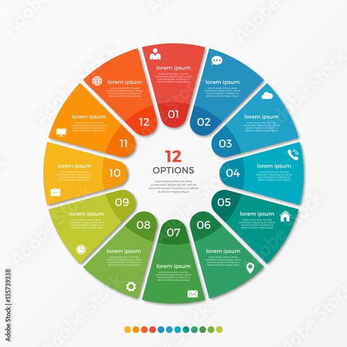 Papel de parede  Circle chart infographic template with 12 options  for presentations, advertisin