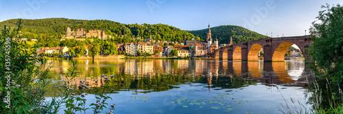 Poster Black Heidelberg Panorama mit Schloss und Alter Brücke