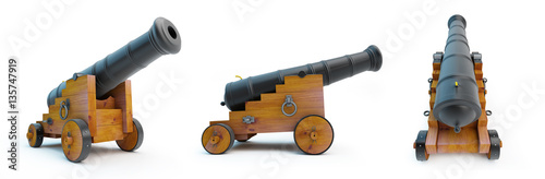 Foto cannon old set on a white background 3D illustration