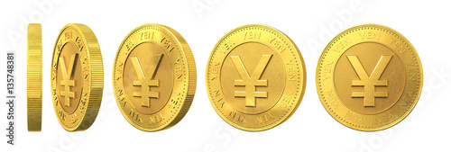 Fotomural  Set of gold coins with yen sign isolated on a white background.