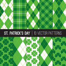 St Patrick's Day Patterns. Green Shamrocks, Argyle And Tartan Plaid Backgrounds. Luky Four-leaf And Three-leaf Clovers. Vector Pattern Tile Swatches Included.
