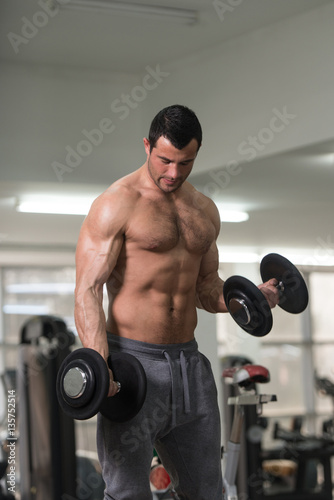 Poster Fitness Biceps Exercise With Dumbbell in a Fitness Center