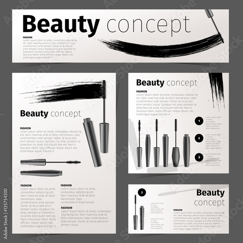 Mascara fashion cards, banners, flyer or brochure with realistic vector cosmetic Wallpaper Mural
