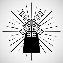 Windmill Farm Fresh Icon Vector Illustration Design