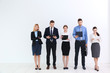 Group of people waiting for job interview and standing on white background