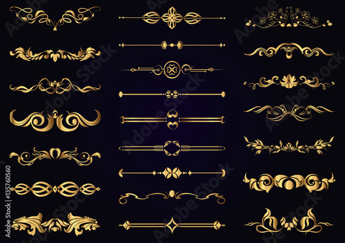 Vector set gold vintage decorative elements for design Canvas-taulu