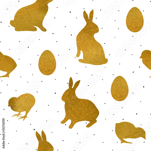 Cotton fabric Seamless pattern with gold textured chicks, rabbits and eggs. Background for Easter greeting card or holiday decor, wrapping, scrapbook, decals.