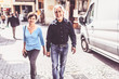 Senior Couple Walking Through The Streets Of Tuebingen