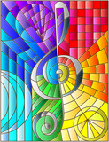 Abstract image of a treble clef in stained glass style rainbow background