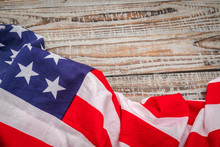 American Flag On Wood Background .