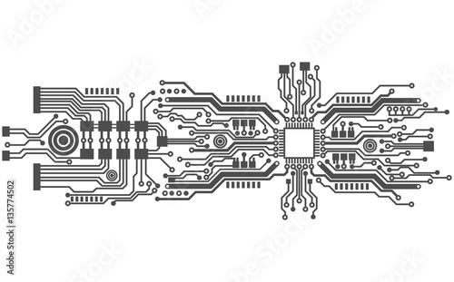 Carta da parati circuit board background texture, vector illustration