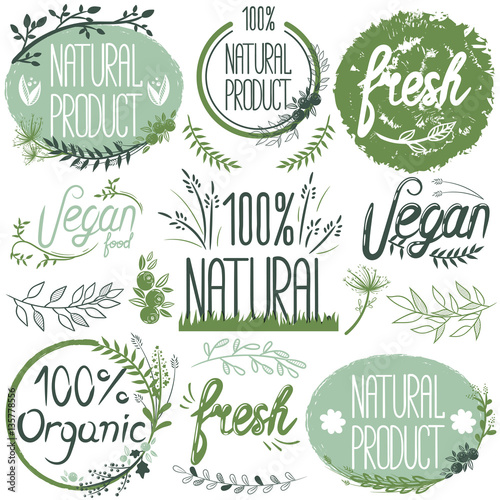 Fotografie, Obraz  Natural organic labels. Organic food stickers and elements.