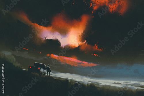 mężczyzna stojący przy swojej ciężarówce, patrząc na czerwone światło na nocnym niebie, malarstwo ilustracyjne