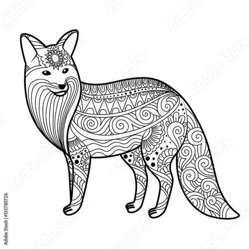 stylized fox in doodles  Pattern style zentangle  Vector