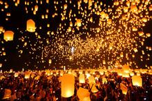 Flying Sky Lantern On Yeepeng Festival, Thai Lanna Tradition Rel