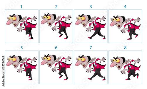 Staande foto Kinderkamer Animation of a cartoon vampire character