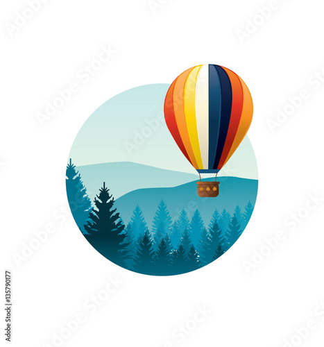 Colorful hot air baloon flying over mountains. Vector illustrati