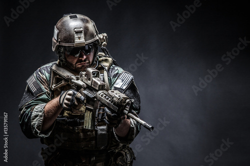 United states Marine Corps special operations command Marsoc raider with weapon Canvas Print