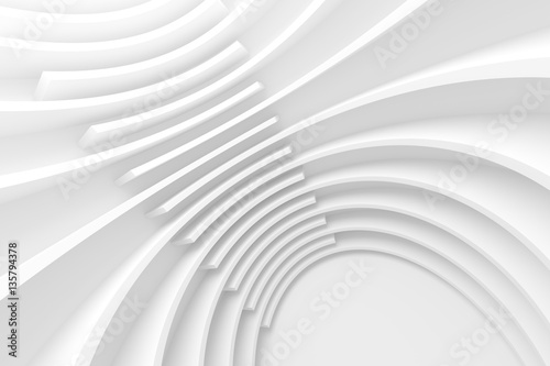 Fotobehang Fractal waves White Circular Building.