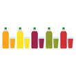 Set of Color plastic bottles of juice or soda with glasses. Package design. Tasty drink, bottled lemonade or juice. Vector illustration