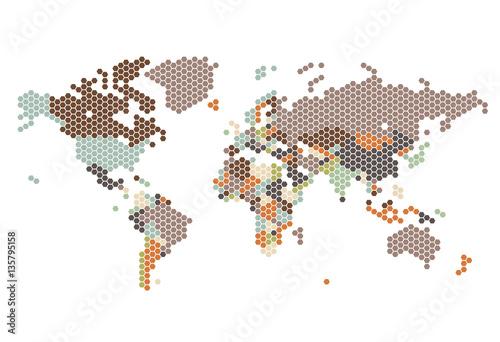 Fotografie, Obraz Dotted World map of hexagonal dots