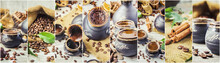 To Brew Coffee In Turku For Breakfast Collage. Selective Focus.