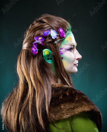 Fototapety, obrazy: Portrait of a Beautiful Elf with Long Hair.