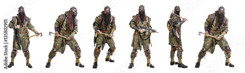Tela Set of nuclear post apocalypse survivors with homemade weapons and cold steel on white background