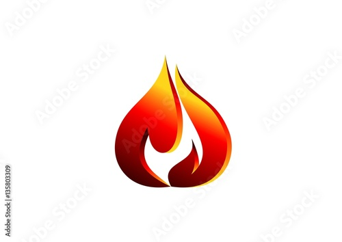 fire, flame, logo, red modern flame logotype, 3D hot fire logo ...