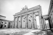 Brandenburg Gate (Brandenburger Tor) In Snow, Berlin, Germany, Europe, Black And White