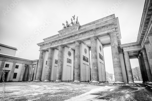 Spoed Foto op Canvas Berlijn Brandenburg gate (Brandenburger Tor) in snow, Berlin, Germany, Europe, Black and white