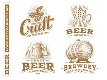 Set Beer Logo - Vector Illustration, Emblem Brewery, Design On White Background