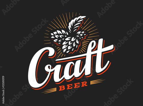 Foto  Craft beer logo- vector illustration hop, emblem design on black background