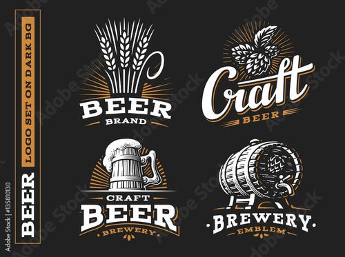 Set beer logo - vector illustration, emblem brewery design on black background Wallpaper Mural