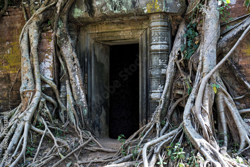 Foto op Plexiglas Bedehuis Prasat Pram sanctuary entrance in Koh Ker site, Cambodia. Koh Ker is an archaeological site with more than 180 sanctuaries, most of them covered by roots, in protected area of 81 square kilometres