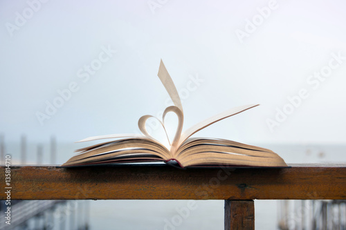 Fotografie, Obraz  Heart shape made of open book pages
