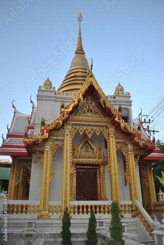 Beautiful Gold Stupa And Buddhist Building Wat Samien Nari Temple In Bangkok Tha Poster