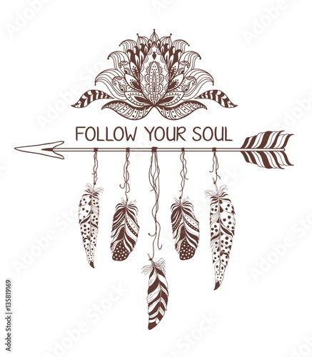 Foto auf AluDibond Boho-Stil Hand drawn boho style design with lotus flower, arrow and feathers.