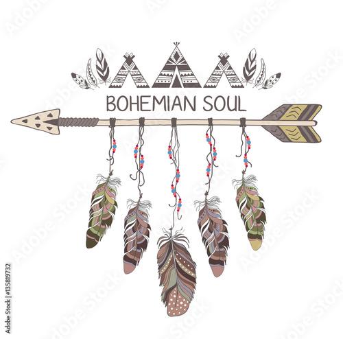 Foto auf AluDibond Boho-Stil Hand drawn boho style design with arrow and feathers.
