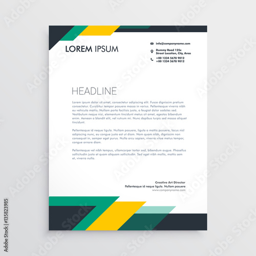 Fototapeta modern letterhead design template with geometric shapes obraz