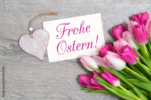 Frohe Ostern Karte.Tulpen Und Karte Frohe Ostern Buy This Stock Photo And