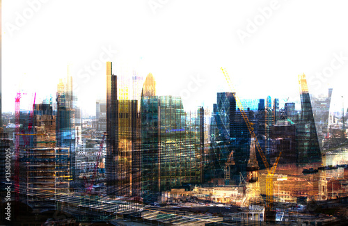 City of London at sunset,  Multiple exposure image with night lights reflections Wallpaper Mural