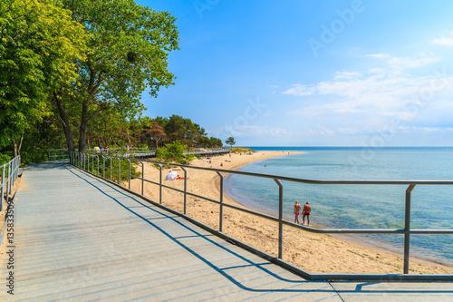 Coastal promenade along beach in Hel town, Baltic Sea, Poland Canvas Print