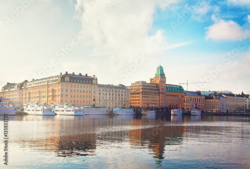 Photo  Scenic waterfront panorama of the Old Town in Stockholm, Sweden, retro toned