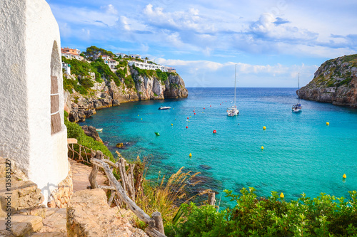 Poster de jardin Cote View of beautiful sea bay Cala en Porter, Menorca island, Spain