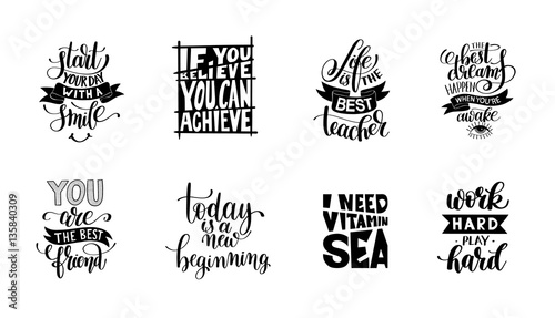 In de dag Positive Typography set of handwritten lettering positive quote about life