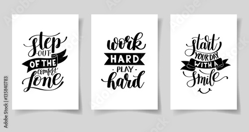 Photographie  set of three hand written lettering positive inspirational quote